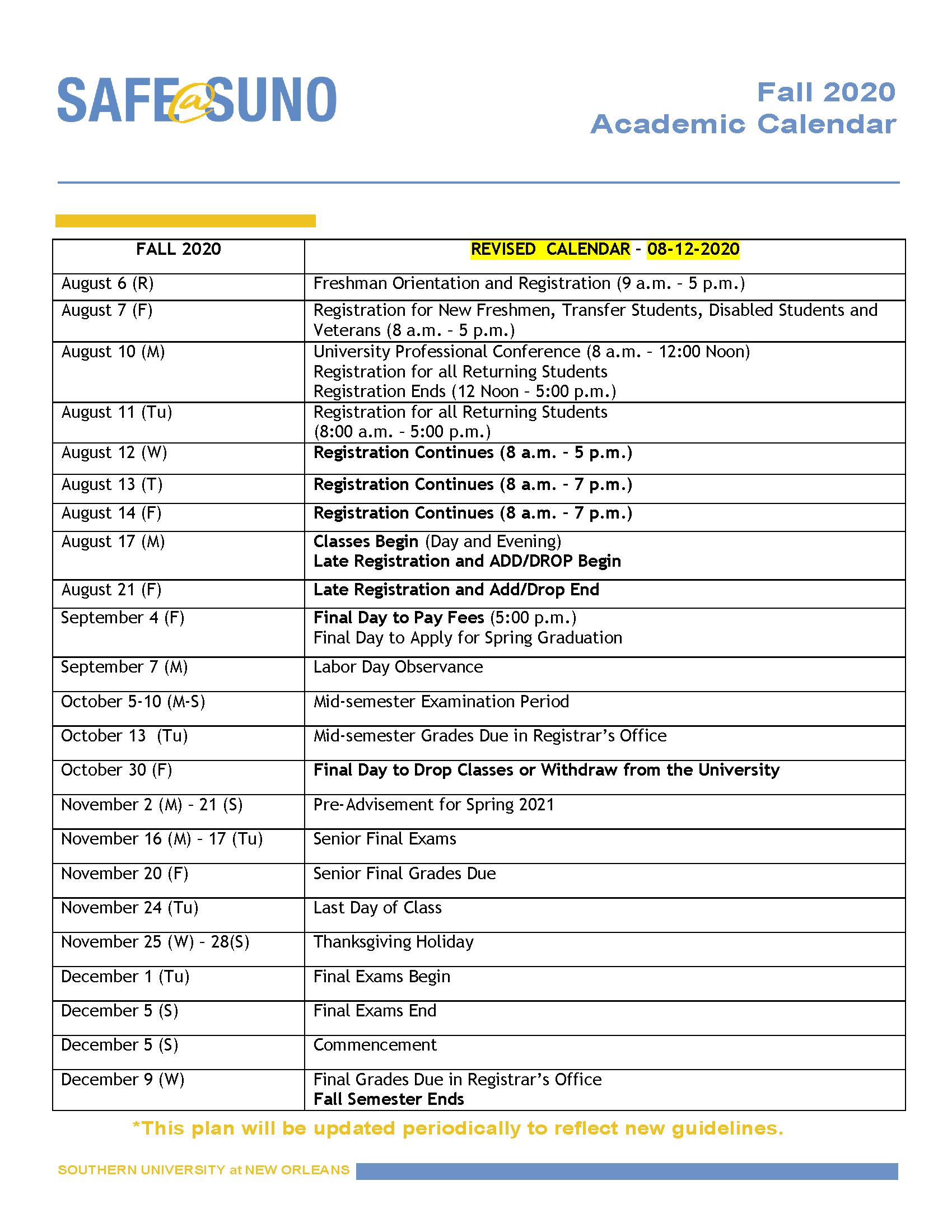 Sou Academic Calendar 2021-2022 Academic Calendars | Southern University at New Orleans