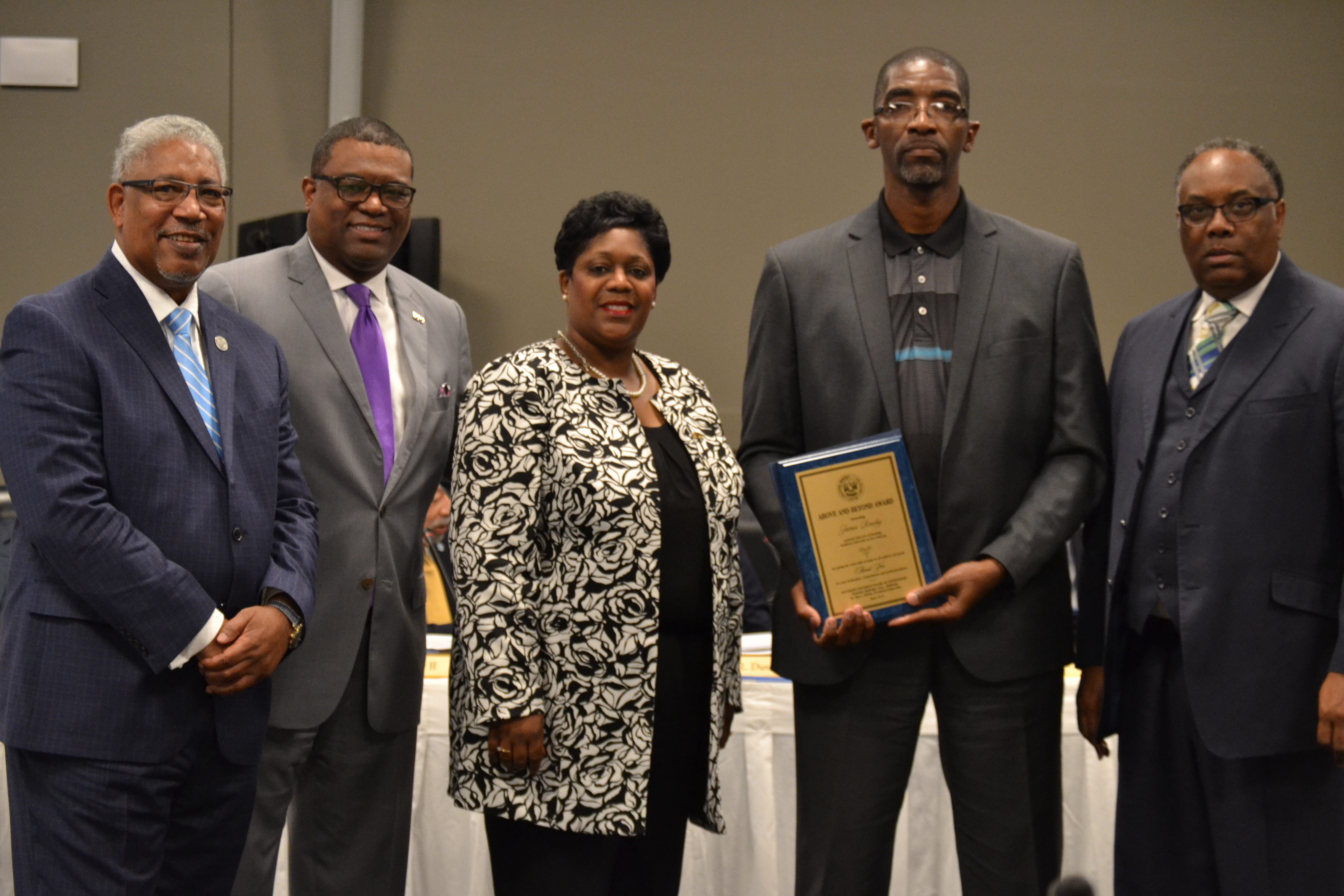SU President-Chancellor Ray Belton, SUS Board Chair Demoine D. Rutledge, SUNO Chancellor Lisa Mims-Devezin,  'Above and Beyond' Award Recipient James Rowley, and SUS Board Member Samuel C. Tolbert Jr.