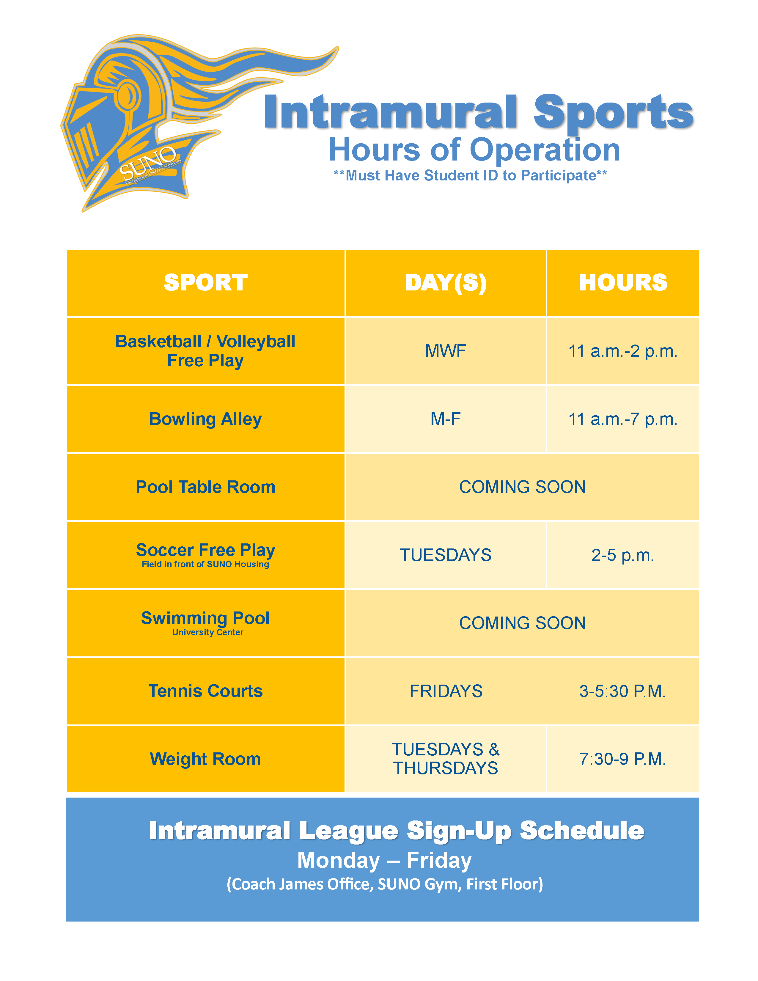 Intramural Hours of Operation