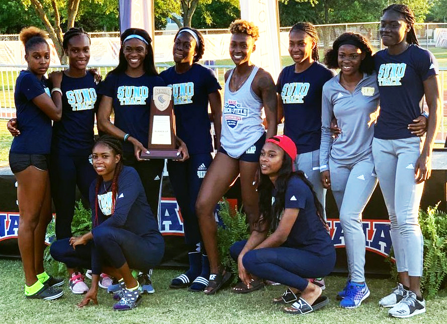 The members of the championship-winning SUNO Women's Track Team are, standing from left, Shantae Green, Kimone Hinds, Kimona Smikle, Argyana Bolton,  Sasha Newman, O'Shalia Johnson, Kerry Ann Scot and Kadeja Campbell; kneeling from left are Xuxa Peart and Jezelle Shaw.