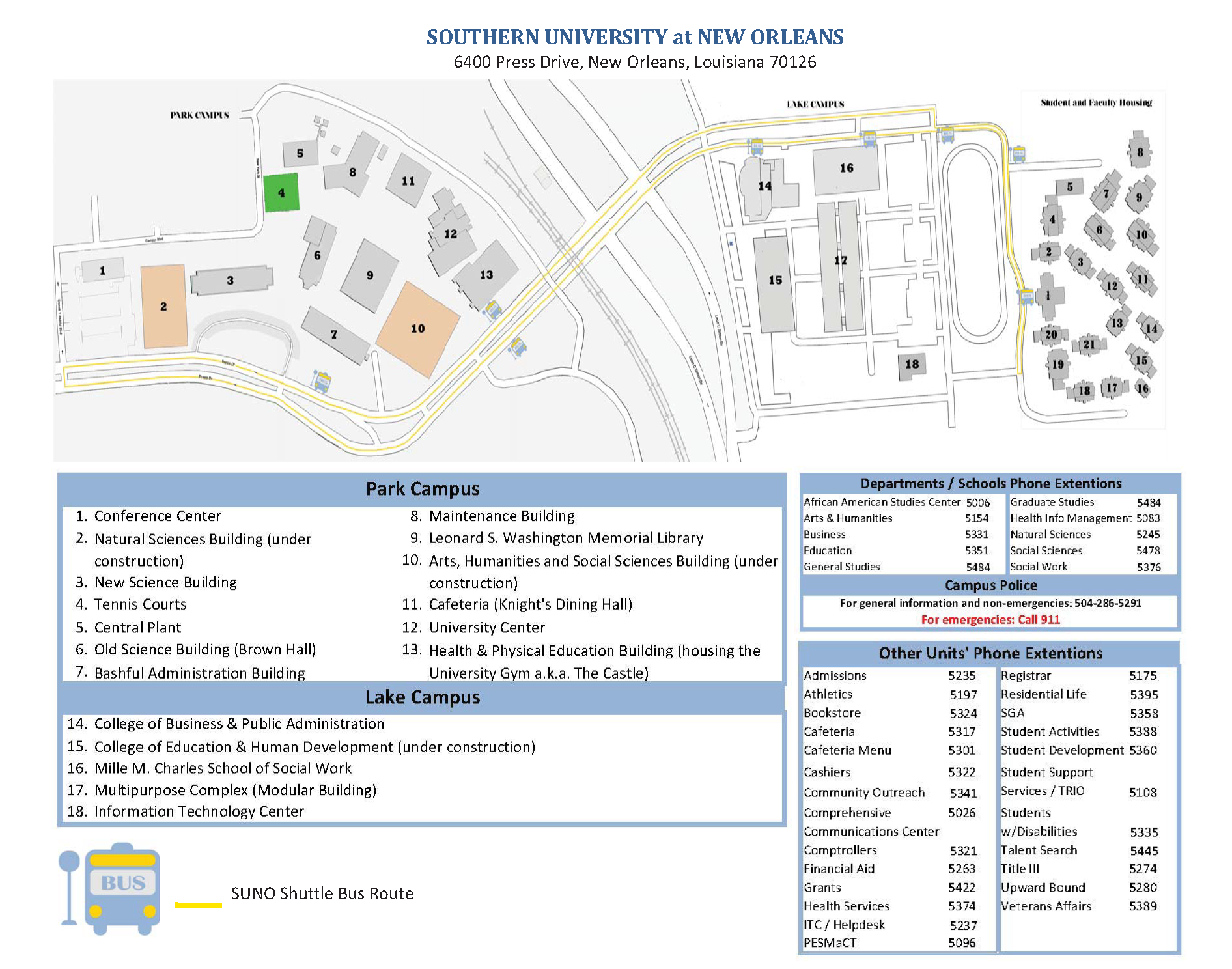 Suno Campus Map.Maps And Directions Southern University At New Orleans
