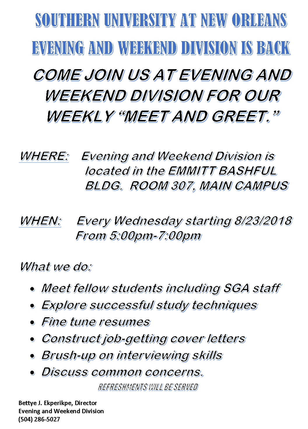 Evening and Weekend Meet and Greet Flyer