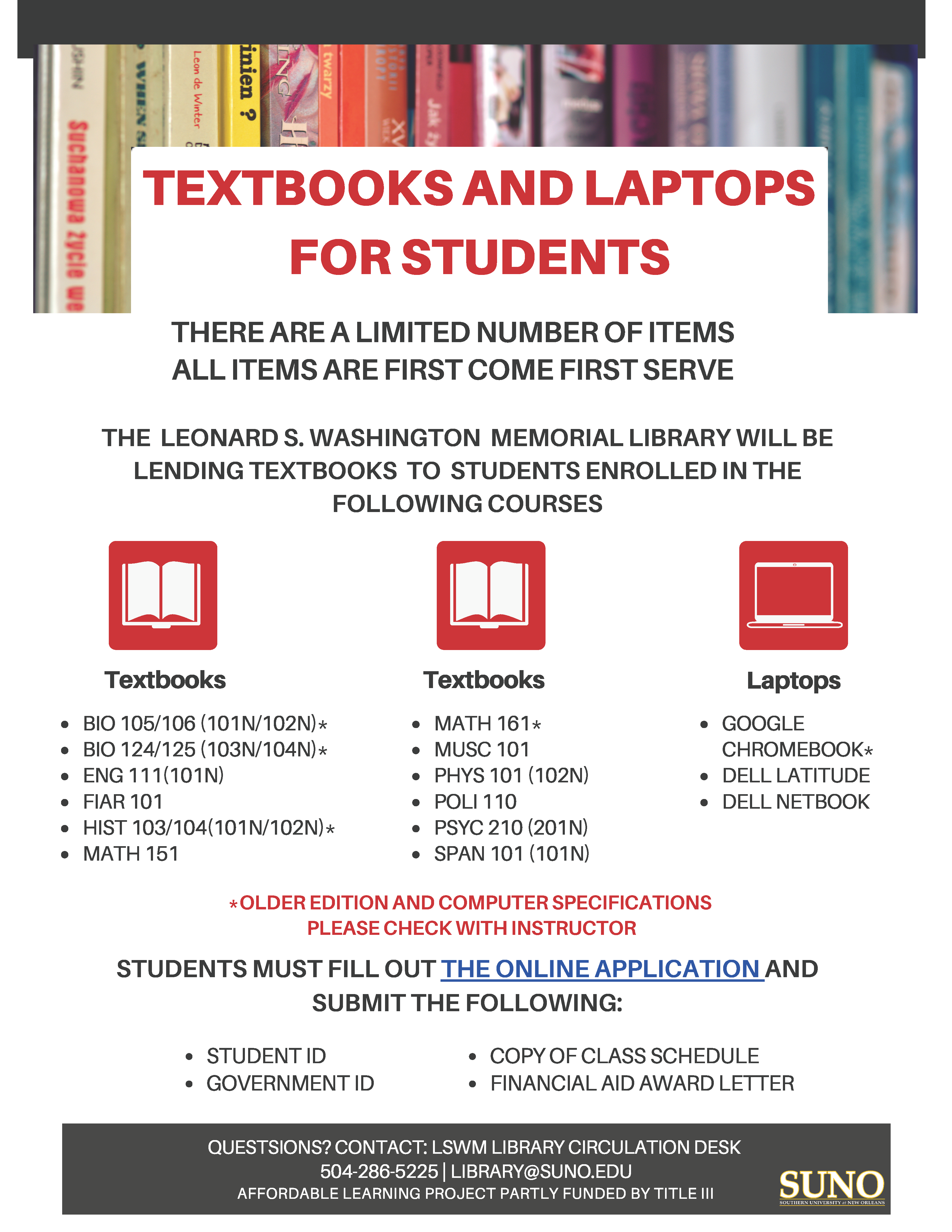 Textbook and Laptops for Students